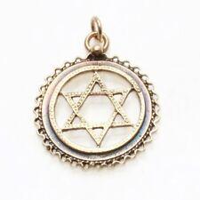 Vintage 9k yellow gold Jewish Star of David Pendant Encircled Filigree Estate