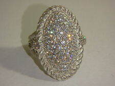 JUDITH RIPKA STERLING PAVE DIAMONIQUE OVAL COCKTAIL RING NEW SIZE 5