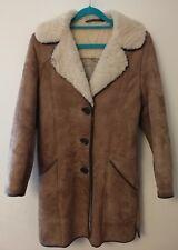 RARE VINTAGE WOMENS REAL SHEEPSKIN COAT TAN BROWN WOOL LINED SMALL S UK 10 12