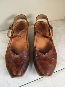 Think!  Splotchy Brown Leather Slingback Mary Jane Women Shoes 7.5 EU 38