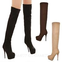 platform Boots party Womens Thigh high Shoes Ladies Stiletto Heels Size tata