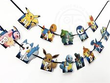🔥1x Pokemon Go Pikachu Banner Bunting Flag. Party Supplies Lolly Bag Room Deco