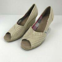 Women's Toms Open Toe Wedge Sandals Khaki Beige Striped Size 9 Espadrille