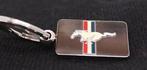Hillman Licensed Ford Mustang Nickel Plated Red, White, Blue Stripe Key Chain
