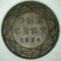 1904 Edward VII Large Cent Copper Canada One Cent Almost Uncirculated KJ17