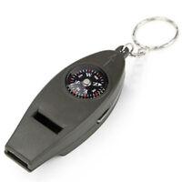 Mini Outdoor 4-in-1 Lebensrettungspfeife Kompass Lupe Thermometer Schlüsselbund