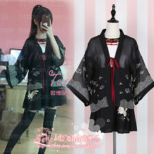 Sweet Lolita Japanese Harajuku Vintage Slim Rabbit Print Kimono Coat+Dress 2 pcs