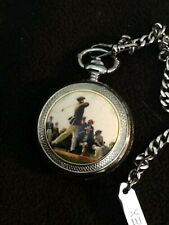 Timex Old Time Golfer Pocket Watch w/Chain Pocket Clip   NEW BATTERY GREAT GIFT!