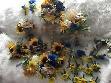 Wedding flowers bridal bouquets decorations sunflowers NAVY BLUE 28pc