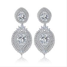 All AAA Cubic Zirconia CZ Pierced Earrings Wedding Party Prom Pageant 4.7cm Long