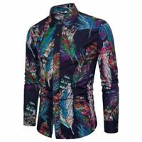Men's formal floral stylish casual t-shirt dress shirt long sleeve tops slim fit