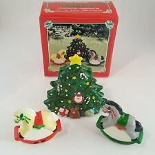 Fine Ceramic Christmas Tree Napkin Holder Rocking Horse Salt & Pepper Set