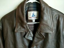 Misty Harbor Men's Leather Jacket Trench Coat Motorcycle Overcoat XL Brown