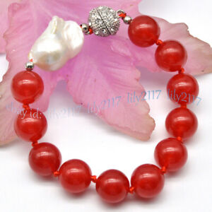 Huge 14MM Natural Red Ruby Round Gems & White Keshi Baroque Pearl Bracelet 7.5''
