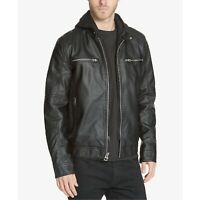 GUESS Men's Faux-Leather Detachable-Hood Motorcycle Jacket Black Size M MSRP 275