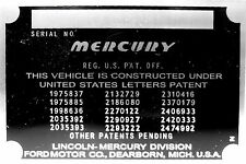 Mercury Lincoln Division Ford Motor Co Body Model Trim Number VIN Plate Tag part