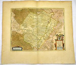ABTEI HERSFELD HESSEN ALTKOL KUPFERSTICH KARTE GOLDHÖHUNG BLAEU 1662 #D936S