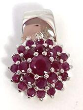Garnet Floral Cluster & Sterling Silver Pendant
