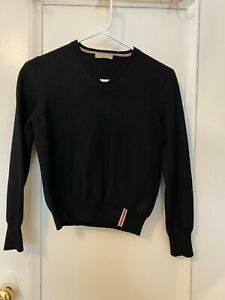 BURBERRY LONDON 100%  MERINO WOOL V NECK  SWEATER SIZE S COLOR BLACK