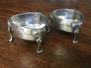 William Hutton & Sons English Silver Arts & Crafts Style Pr. Salt Cellars c1902