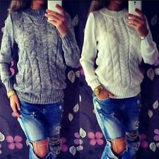 Women Loose Long sleeve Knitted Pullover Casual Sweater Knitwear Jumper Tops B