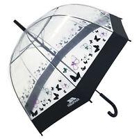 Trespass Papillon Ladies Transparent Butterfly Print Button Release Umbrella