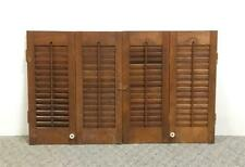 Vtg Wood Wooden Folding Louvered Interior Window Shutters 19-3/8� Tall