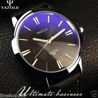 Luxury Men Military Stainless Steel Leather Analog Quartz Sport Dial Wrist Watch