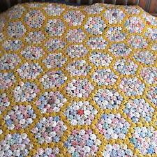 "Vintage 30s 40s Handmade Yo-Yo Quilt 1.5"" Circles 78 X 89 Full Bed Double Gold"