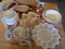 Vintage Fire King white/gold trim  15 pc group lot -variety! Holidays, festive!