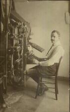 Man at Linotype Machine Work Labor - Gmunden on Back Real Photo Postcard