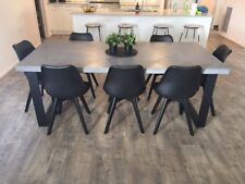 Charcoal Concrete Dining Table - Steel legs - Made to order