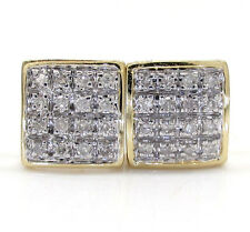 0.10ct Mens Ladies 10k Yellow White Real Gold Diamond Square Earrings Studs