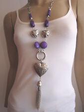 Modekette lang Damen Hals Kette Modeschmuck Silber Lila Herz Quaste Lagenlook
