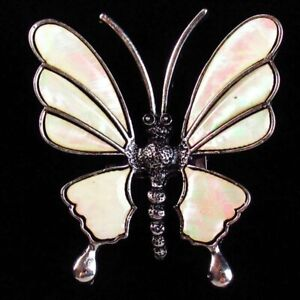 Natural Abalone Shell Carved Tibetan Silver Butterfly Pendant Brooch ASH346