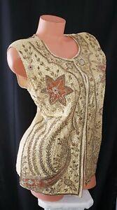 Amazing! Antique Bombay India Hand Beaded Metal Tube Beads Wealth Vest