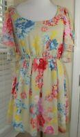 MARGO & SEBASTIAN Summer Floral DRESS - Size Medium - Lined Ruffle Sleeves