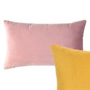 Oblong Reversible Cushion Mustard Yellow Blush Pink Cover Rectangle Pillow Sofa
