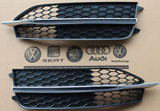 Pair Audi A7 S7 4G C7 S-Line OE Front bumper grill mesh grille BLACK s line cup