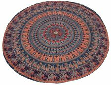 Elephant mandala round cotton wall hanging indian tapestry yoga mat table cover