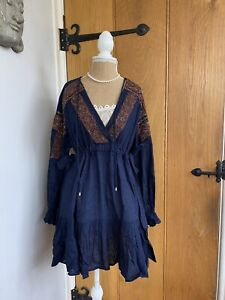 Free People Navy Embroidered Dress Tunic Size S 10/12 $178 BNWT Boho Kaftan