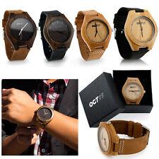 Reloj de Cuarzo lujo Para hombres Para mujeres de Madera de Bambú Relojes de pulsera de cuero moda con caja