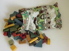 bag of vintage wood building blocks kids toy train station