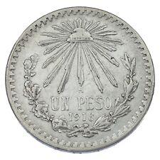 1918 Mexico Un Peso Silver Coin (Very Fine,VF Condition) KM# 454