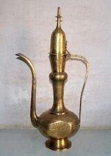Antique India Old Original Brass Hand Craved Islamic Big 22'' Pitcher Pot