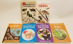 Lot of 6 Golden Nature Guides Reptiles Fishing Fossils Trees Moths Shells C530