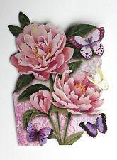 *PUNCH STUDIO Set of 6 Die Cut Blank Note Cards ~Floral~Pink Peonies~Butterflies