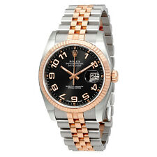 Rolex Oyster Perpetual Datejust 36 Black Concentric Dial Stainless Steel and