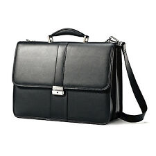 *SAMSONITE Leather Flapover Briefcase (BLACK) Case Bag Holder Travel Laptop NEW*