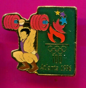 1996 OLYMPIC PIN WEIGHTLIGTING EVENT PIN IMPRINTED PIN #41114 DOMED ENAMEL PIN